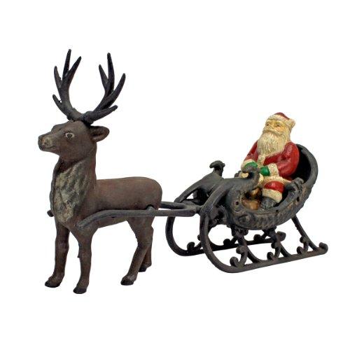 Design Toscano Weihnachtsschmuck Santa Claus auf Schlitten mit Weihnachtsren Sterben Eisen Feiertags-Dekor Statue Guss