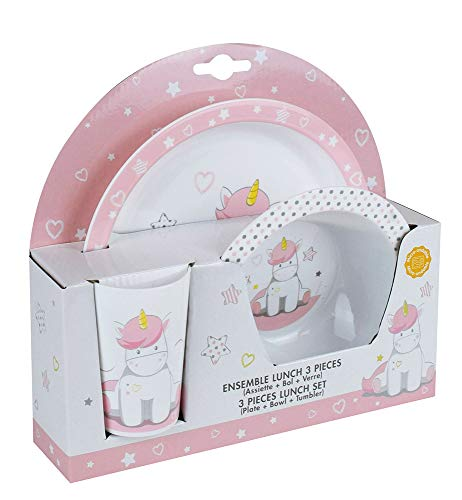 Fun House 005667 Unicorn Children's Microwaveable Meal Set Including 1 Plate, 1 Bowl and 1 Glass