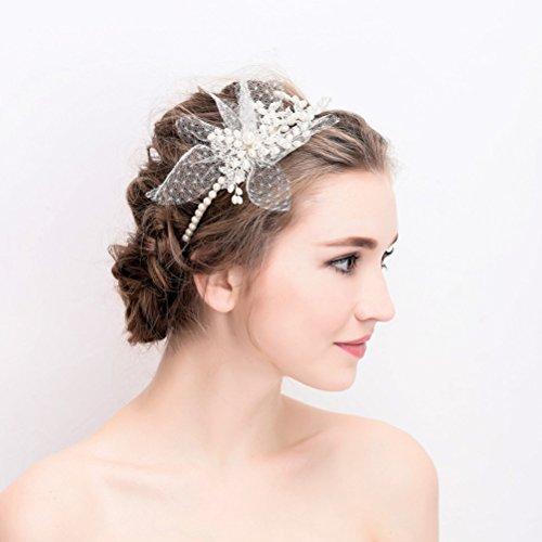 Frcolor Kristall Hochzeit Stirnband, Peal Flower Haarband Kopfschmuck Tiara Braut Haarschmuck