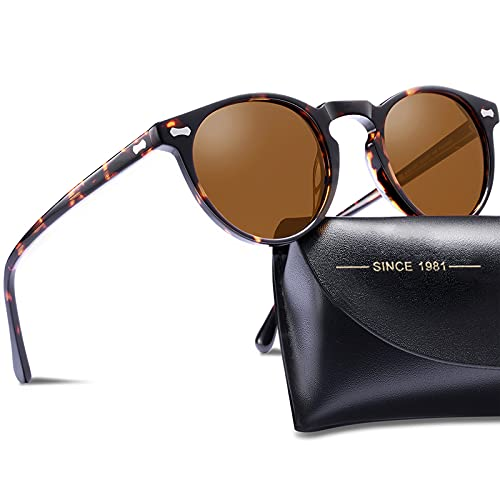 Carfia Vintage Polarized Sunglasses for Women UV Protection Hand-Crafted Acetate Eyewear 5288