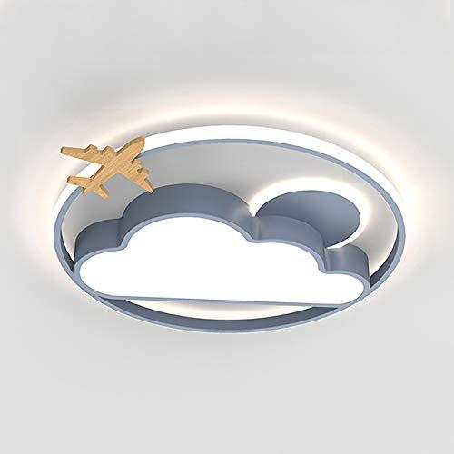 LED Lámpara de techo Chico Dormitorio Luz de techo Cuarto de los niños Regulable Con Control remoto Nube Diseño Sala de las niñas Guardería Redondo Kindergarten Iluminación infantil,Gray 40cm