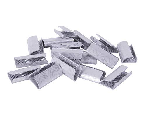 1000 Stk. erka Verschlusshülsen für PP und PET Umreifungsband | geriffelt oder glatt, 13 mm, für manuelle Umreifungsgeräte, Metallhülsen