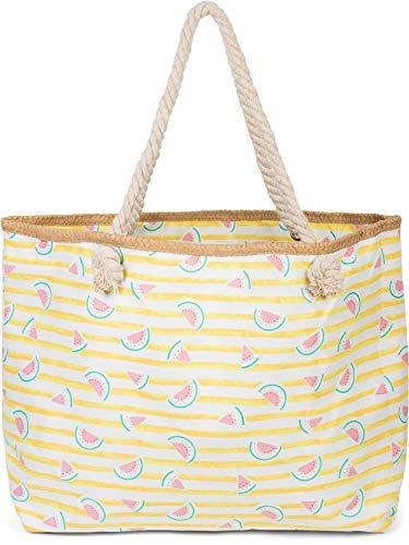 styleBREAKER Bolso para la Playa XXL de Mujer con Estampado de Rayas y Estampado frutal de sandías, Cremallera, Bolso de Hombro, Bolso para Compras 02012287, Color:Amarillo-Blanco
