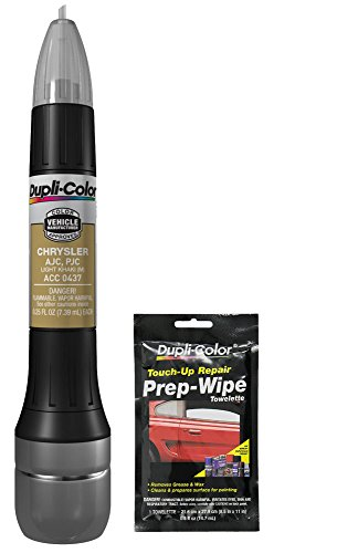 Dupli-Color ACC0437 Metallic Light Khaki Exact-Match Scratch Fix All-in-1 Touch-Up Paint for Chrysler Vehicles (AJC,PJC) Bundle with Prep Wipe Towelette (2 Items)