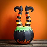 Lights4fun, Inc. 4ft Inflatable Witches Legs in Cauldron Halloween Decoration with Built-in LED Lights