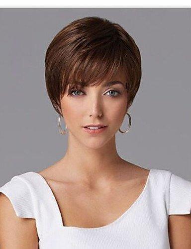 ahom (perruque Noble et Europe et la vendre comme des États-Unis Hot Gâteaux Marron cheveux courts Perruques
