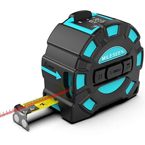 Medidor de Distancia Láser, Mileseey Cinta Métrica Láser Recargable USB,Medidor Láser 40M y Cinta Métrica 5M, Buscador de Alcance Digital con Mango Portátil con Pantalla LCD HD más Grande