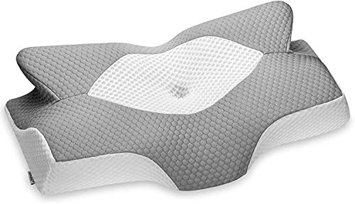 Elviros Zervikale Orthopädisches Kopfkissen aus Memory-Schaum abnehmbares ergonomisches Nackenhörnchen für Nacken- und Schulterschmerzen Nackenstützkissen für Seitenschläfer, 64 x 12,5/10,5 x 42 cm