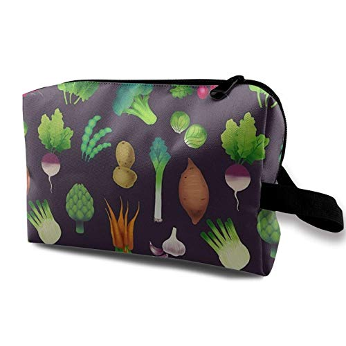 XCNGG Bolsa de cosméticos para mujer Exquisitas bolsas de aseo Bolsas de maquillaje de moda con cremallera Mercado de agricultores veganos de verduras