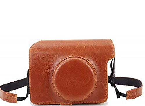 Phetium Protective Case Compatible with Fujifilm Instax Wide 300 Instant Film Camera, Soft PU Leather Bag Cover with Removable/Adjustable Strap (Brown)