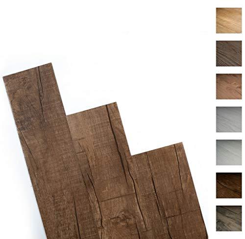 ANTEVIA- Lames de sol adhésives 5m2 | 15 COLORIS DISPONIBLES | PVC Revêtement adhésif (Marron foncé vieilli - 5m2)