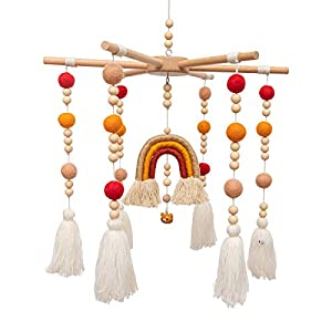 crib bedding and baby bedding baby crib mobile - mmh rainbow crib mobile wooden mobile with colorful cotton ball wool felt ball boho baby mobile bassinet mobile for crib toy mobile for baby nursery and ceiling decoration(orange)