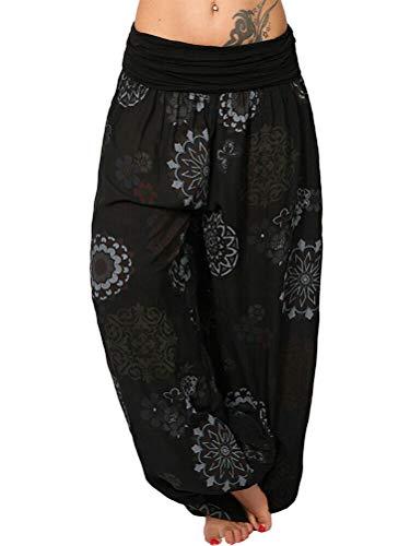 Tomwell Harem Pantalón para Mujer Casual Boho Floral Aladin Bombacho Baggy Yoga Pantalones