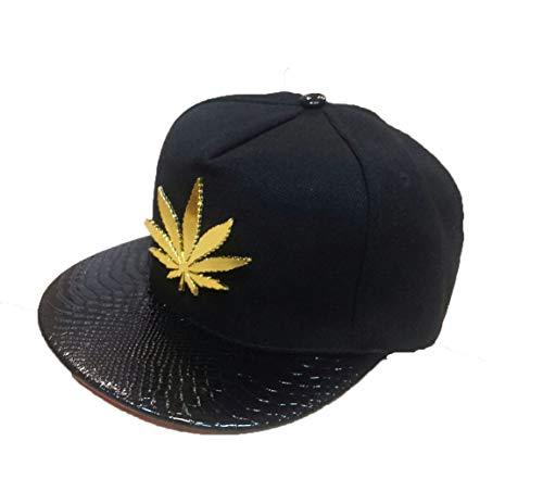 Casquette avec motif feuille de cannabis métallique doré