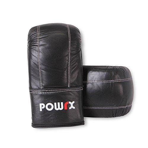 POWRX Boxhandschuhe Frauen Männer Echtleder Größe M oder L Schwarz Trainingsboxhandschuhe Damen Herren (L)