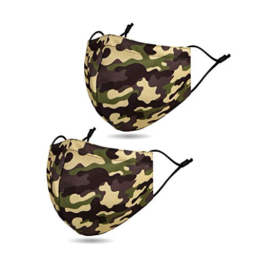 Review Camouflage Face Bandanas, Women Men Face Mouth Nose Camo Army Printed Cotton Fabric Cloth Bal...