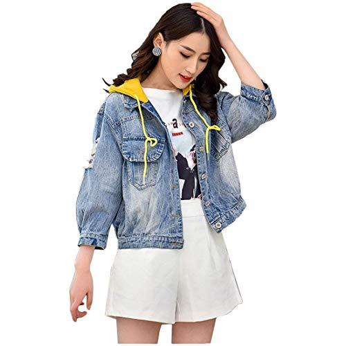 Damen Jeansjacke Kurz Herbst Fashion Langarm Mit Kapuze Jeans Jacke Relaxed Classic Freizeit Trend Mädchen Boyfriend Button Mantel Outerwear Kleidung (Color : Gelb, Size : L)
