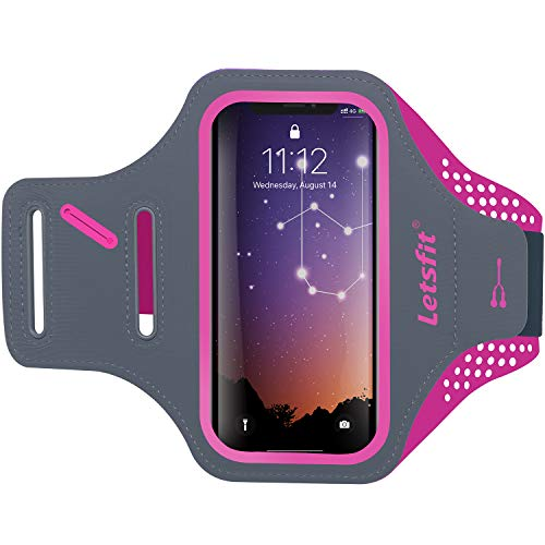 Letsfit Running Armband, Water Resistant Cell Phone Armband for Smart Phone 8 7 6 6s with Key Slot, Headphone Slot and Face ID for Running, Walking, Hiking, Pink