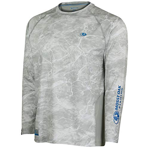 Photo of a silver bonefish pattern colored Long Sleeve Fishing Shirt By Mossy Oak