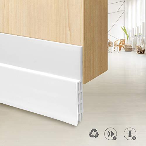 Door Sweep, Tesyker Weather Stripping Door Draft Stopper, Energy Saving Under Door Seal Soundproof Weatherproofing Draft Guard (39' L x 2' W, White)