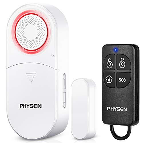 PHYSEN Alarma de puerta con alarma de ventana, 120 dB, protección antirrobo, con 1 mando a distancia, sensor de puerta inalámbrico, sistema de alarma de seguridad para el hogar, la oficina, el garaje