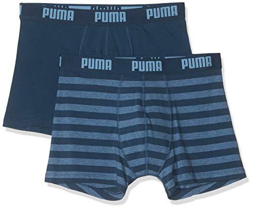 PUMA Herren Stripe 1515 Boxer 2p Badehose, Blau (Denim 162), X-Large (Herstellergröße: 040) (2er Pack)