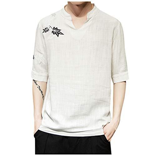 ODRD Herren Gesticktes Leinen T Shirts, HOT SALE Boy Handsome Cool Shortsleeve Vintage Jugend T-Shirt Blouse Tops O-Neck Basic O-Ausschnitt Shirt Clearance Sale