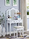 Roundhill Furniture Sanlo Wooden Vanity | Make Up Table and Stool Set | White