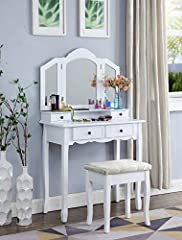 Durable wood construction with white finish. Set include vanity, mirror, and bench 3-pane beveled mirror and four vanity box drawers. Brushed nickel hardware Hand-applied antique white rubbed through finish. The rectangular bench is thickly upholster...