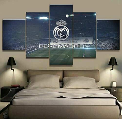 LHSRKL MZNY Bild auf Leinwand - Real Madrid Fußball fünf Stück gerahmte Leinwand drucken Home Decor Wandkunst 5