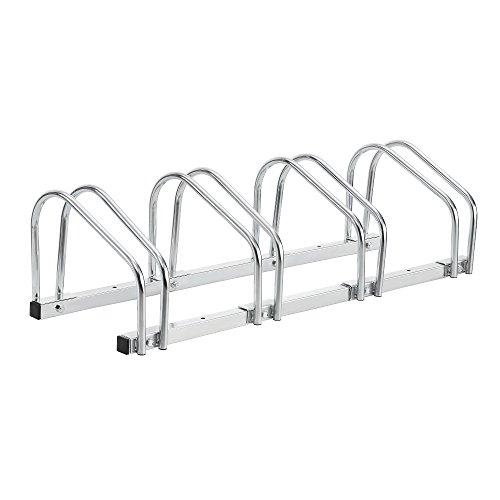 [neu.haus] Fahrradständer für 4 Fahrräder - freistehend - Bodenparker Silber