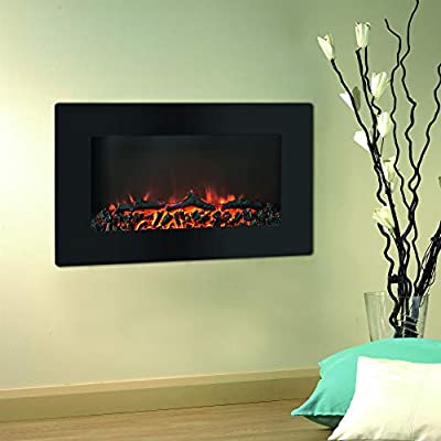 CAMBRIDGE Callisto 30 in. Wall-Mount Flat-Panel Indoor Heater, LED and Realistic Logs, CAMBR30WMEF-2BLK Electric Fireplace, Black
