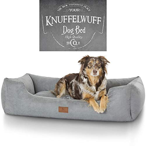 Knuffelwuff 13968-003 Hundebett Liam mit Vintage Aufdruck, M - L, 85 x 63 cm, grau