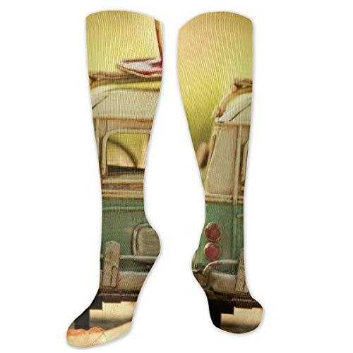 Myhou Kniestrümpfe für Damen, Oberschenkelhoch, lange Socken für Mädchen, Cartoon-Bus-Strümpfe