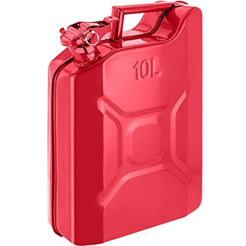 PrimeMatik - Bidón metálico para Gasolina o diésel 10 L Rojo