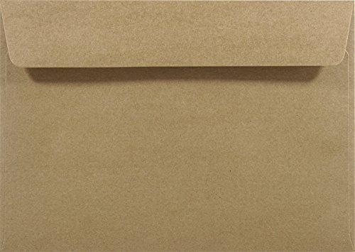 25 Sand-Braun DIN C5 Kraftpapier-Umschläge 162x229mm gerade Klappe ohne Fenster recycelte Umschläge aus Kraftpapier groß Briefkuverts Kraftpapier Natur Vintage C5 Briefhüllen Braun recyclingfähig