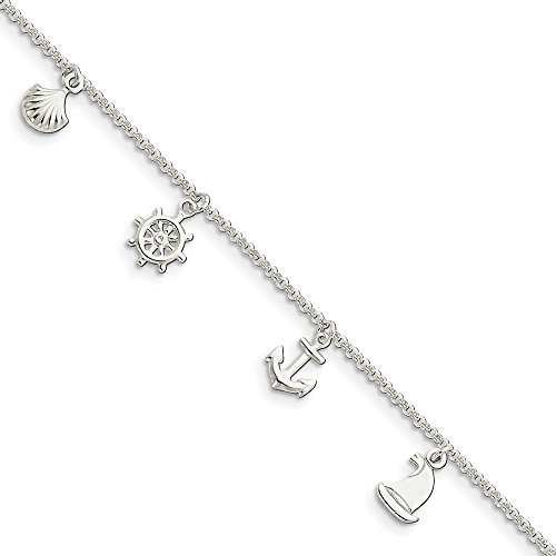 925 Sterling Silver Ocean Theme 9 Inch Plus 1 Adjustable Chain Size Extender Anklet Ankle Beach Bracelet Seashore Fine Jewellery For Women Gifts For Her