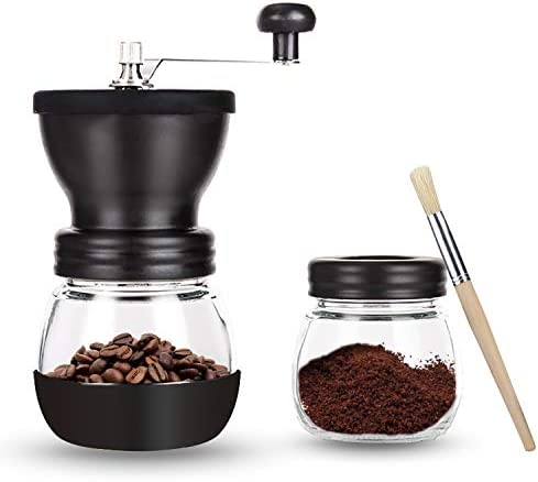 OverTwice Manual Coffee Grinder with Ceramic Burrs Adjustable Hand Coffee Bean Mill with 2 Glass product image