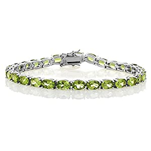 Peridot 925 Sterling Silver Gemstone Birthstone Women's Tennis Bracelet