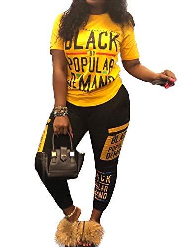 Frauen Casual Sommer 2 Stück Outfits Kurzarm Brief Drucken T-Shirt Tops Bodycon Lange Hosen Set