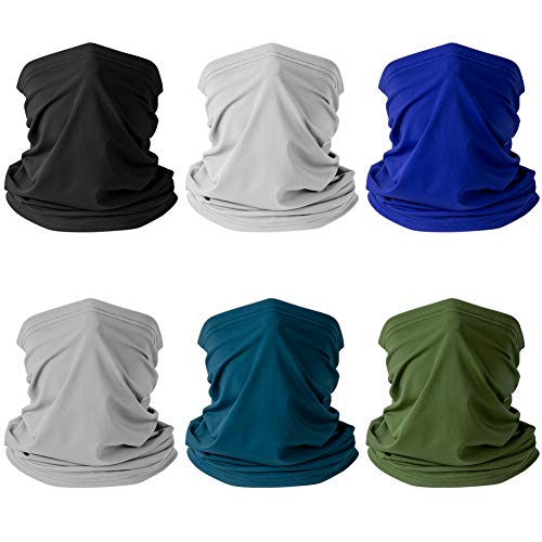 [6pack] Neck Gaiter Reusable,Washable Bandana Balaclava Cooling Scarf,UV Sun Protection Headwear,Anti Dust Headband for Women Men