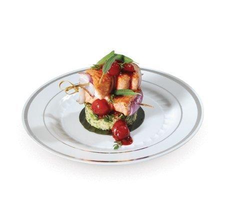 Silver Splendor White & Silver 7 Plastic Salad Plates 15 PCS. by Silver Splendor