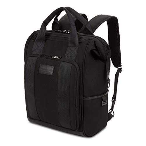 SWISSGEAR 3577 Laptop Backpack | Fits Most 15 Inch Laptop and Tablet | Doctor Bag | Tote Bag | Men's and Women's – Black Stealth