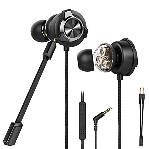 CLAW G13 Triple Driver Gaming Earphones with Adjustable Boom & in-line Mic, Volume Control, Mute Switch & 3D Stereo Sound for iPhone & Android Phones, Tablets, PC, Laptop, PS4, PS5, Xbox (Black)