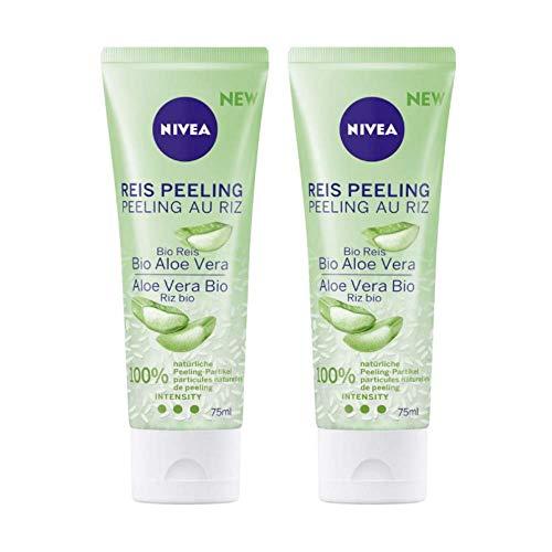 NIVEA Reis Peeling Bio Aloe Vera, 2er-Set, 100{ba93c40c3748d68616836737071e93b59bd56d52a1514edce80cb8197db7e545} biologisch angebauter, natürlicher Reis, für normale Haut und Mischhaut, Gesichtspeeling ohne Mikroplastik, hohe Peeling Intensität, 2 x 75 ml