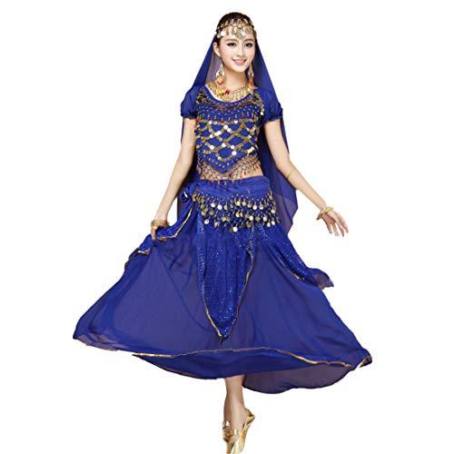 MU CHAOHAI Dames Dansen Outfit Kort Mouw Pailletten Buik Dans Indisch Dans Top + Rok + Andere Accessoires