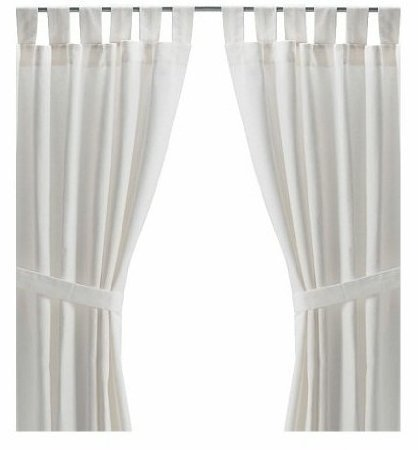 """Ikea LENDA Pair of LONG 118"""" curtains with tie-backs, white (bleached) 2 Panels"""