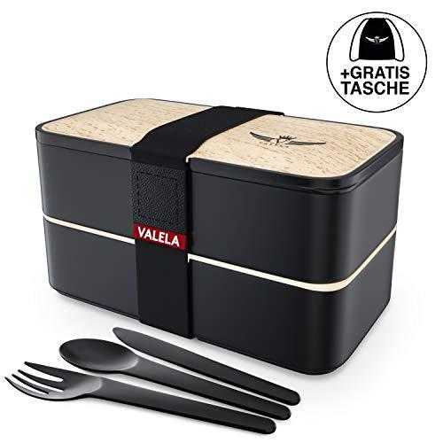 VALELA Lunchbox -Praktische Bento Box für den Transport von Mahlzeiten - Design Brotdose für die Schule und Arbeit für Kinder & Erwachsene - 3 teiligem Besteck+ E-Book