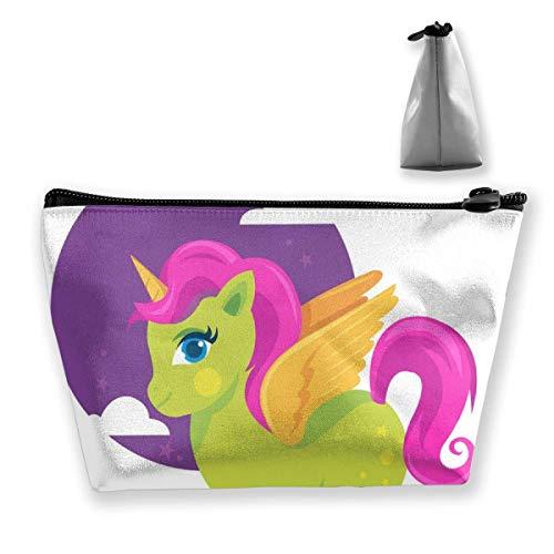 buntes grünes Pony-Pferd mit Goldhorn Praktische Kosmetik-Aufbewahrungsbeutel, Mode-buntes grünes Pony-Pferd mit Goldhorn-Schmuck-Aufbewahrungsbeuteln Geldbörse