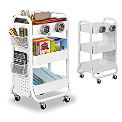 Best Classroom Rolling Carts - DESIGNA 3- Tier Metal Storage Rolling Cart